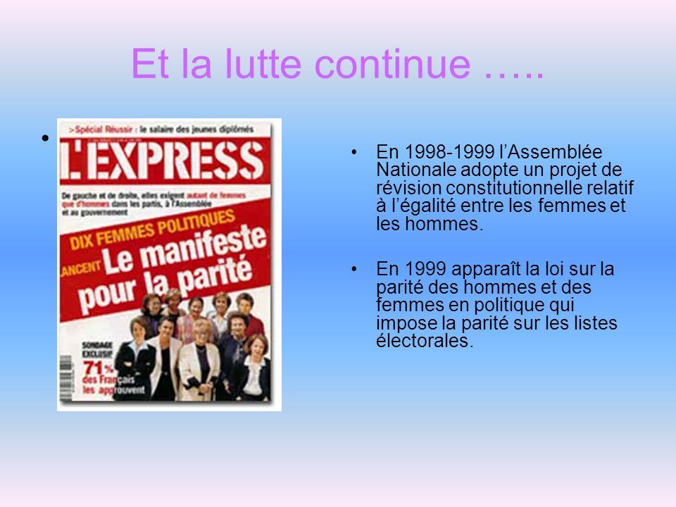 Et la lutte continue ….. En 1998-1999 lAssemblée Nationale adopte un projet de révision constitutionnelle relatif à légalité entre les femmes et les h