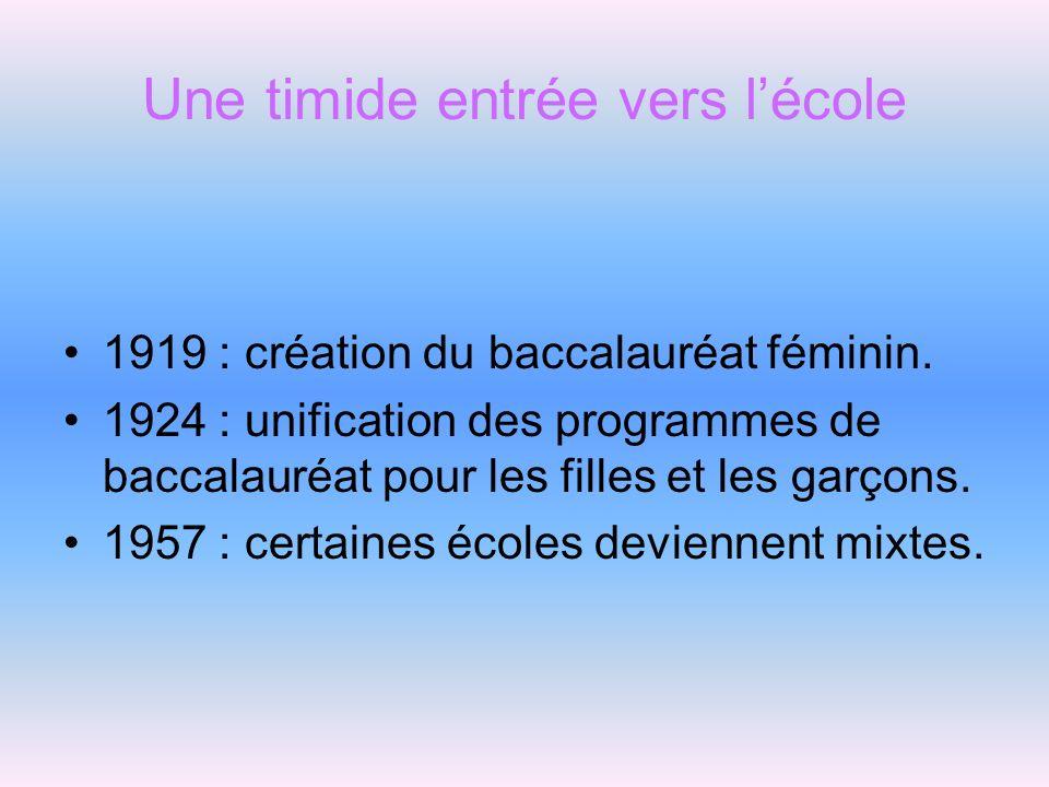 Une timide entrée vers lécole 1919 : création du baccalauréat féminin. 1924 : unification des programmes de baccalauréat pour les filles et les garçon