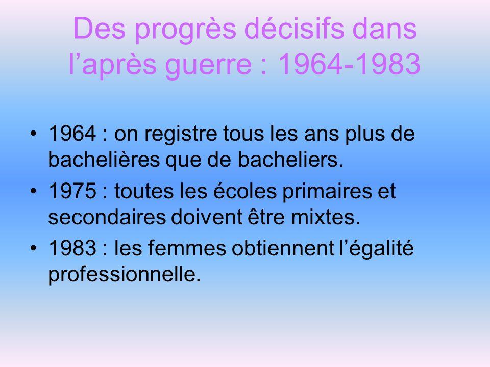Des progrès décisifs dans laprès guerre : 1964-1983 1964 : on registre tous les ans plus de bachelières que de bacheliers. 1975 : toutes les écoles pr