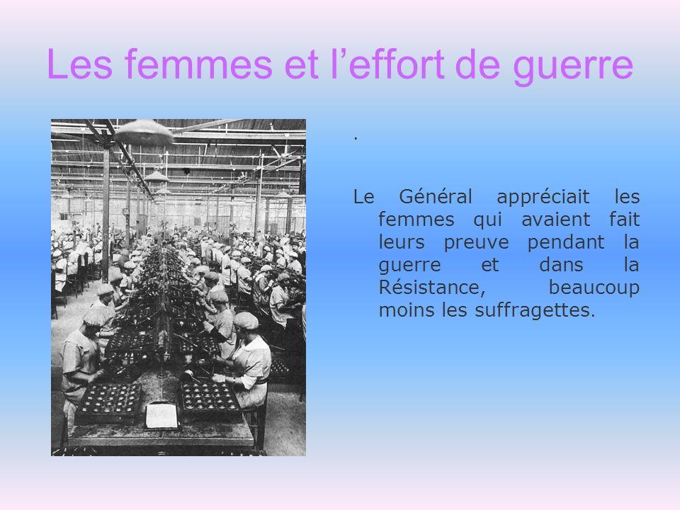 Les femmes et leffort de guerre. Le Général appréciait les femmes qui avaient fait leurs preuve pendant la guerre et dans la Résistance, beaucoup moin