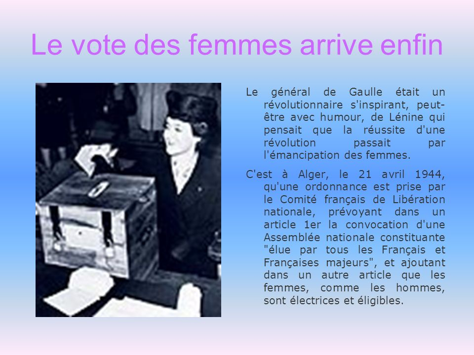 Le vote des femmes arrive enfin Le général de Gaulle était un révolutionnaire s'inspirant, peut- être avec humour, de Lénine qui pensait que la réussi