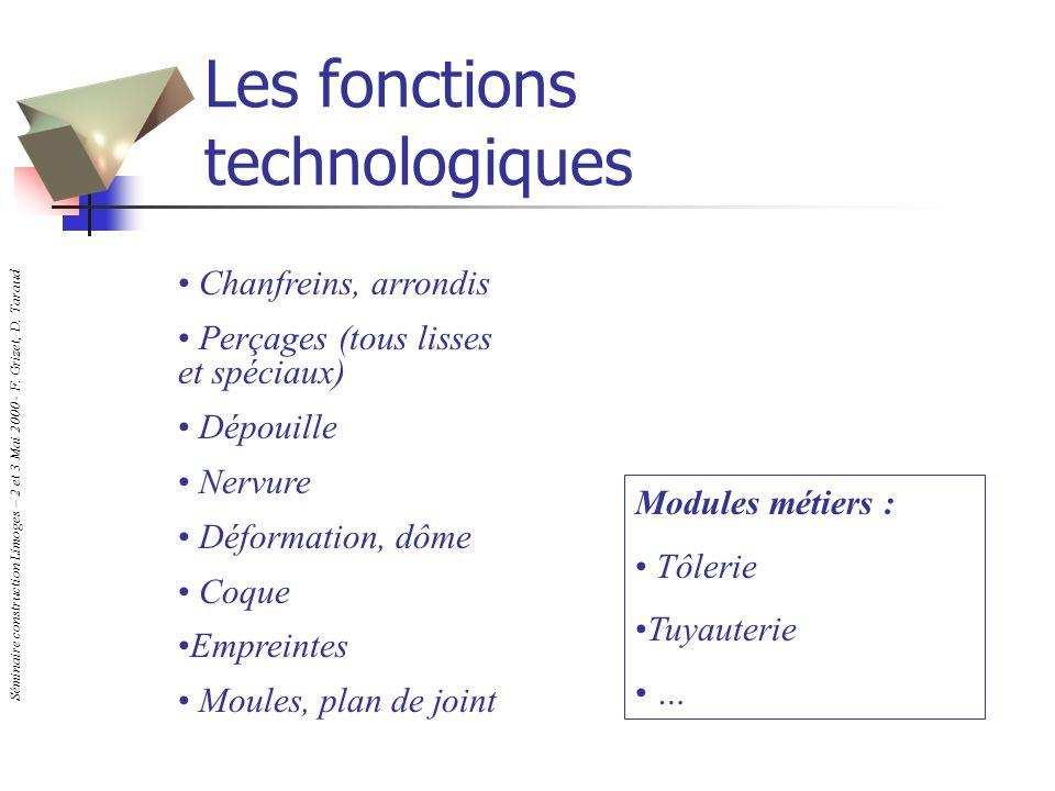Séminaire construction Limoges – 2 et 3 Mai 2000 - F. Grizet, D. Taraud Les fonctions technologiques Chanfreins, arrondis Perçages (tous lisses et spé