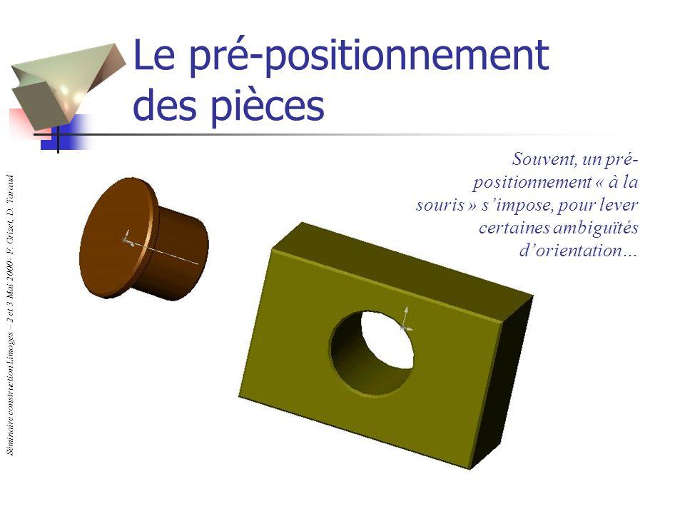 Séminaire construction Limoges – 2 et 3 Mai 2000 - F. Grizet, D. Taraud Le pré-positionnement des pièces Souvent, un pré- positionnement « à la souris