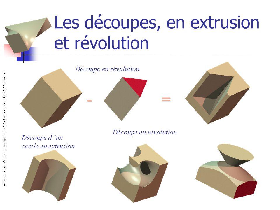Séminaire construction Limoges – 2 et 3 Mai 2000 - F. Grizet, D. Taraud Les découpes, en extrusion et révolution Découpe d un cercle en extrusion Déco