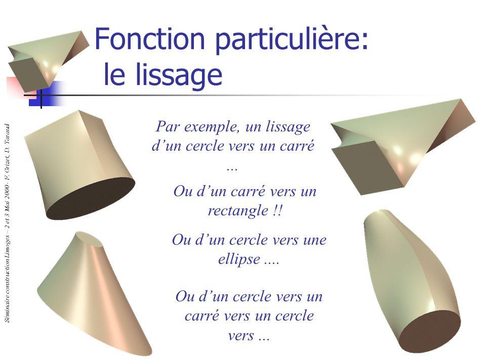 Séminaire construction Limoges – 2 et 3 Mai 2000 - F. Grizet, D. Taraud Fonction particulière: le lissage Par exemple, un lissage dun cercle vers un c