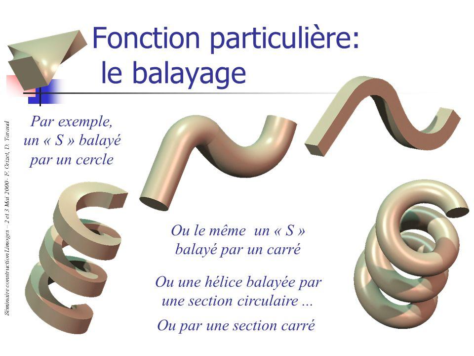 Séminaire construction Limoges – 2 et 3 Mai 2000 - F. Grizet, D. Taraud Fonction particulière: le balayage Par exemple, un « S » balayé par un cercle