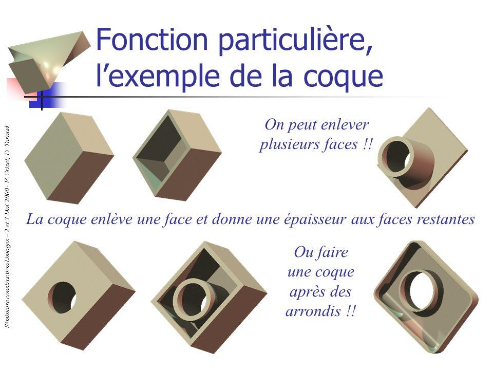 Séminaire construction Limoges – 2 et 3 Mai 2000 - F. Grizet, D. Taraud Fonction particulière, lexemple de la coque La coque enlève une face et donne