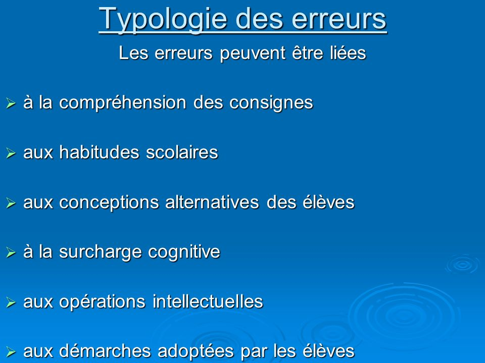 Typologie des erreurs Les erreurs peuvent être liées à la compréhension des consignes à la compréhension des consignes aux habitudes scolaires aux hab