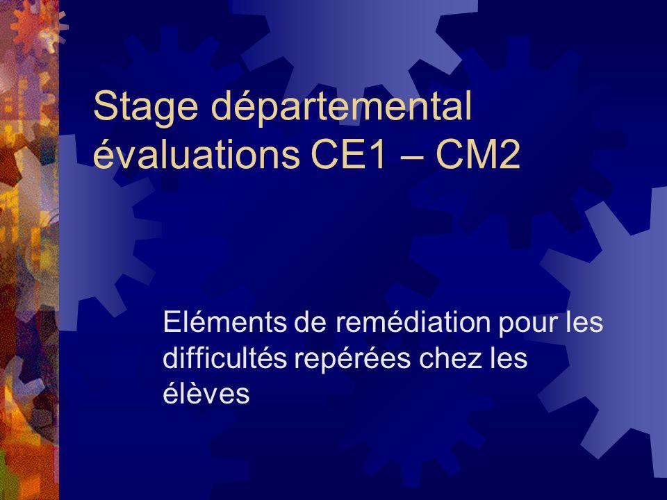 Stage départemental évaluations CE1 – CM2 Eléments de remédiation pour les difficultés repérées chez les élèves