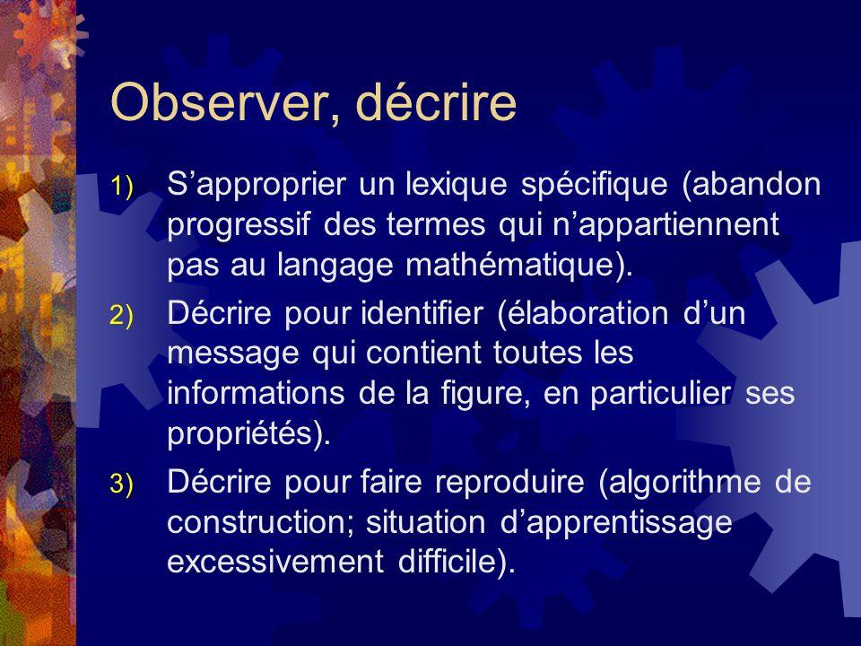 Observer, décrire 1) Sapproprier un lexique spécifique (abandon progressif des termes qui nappartiennent pas au langage mathématique). 2) Décrire pour
