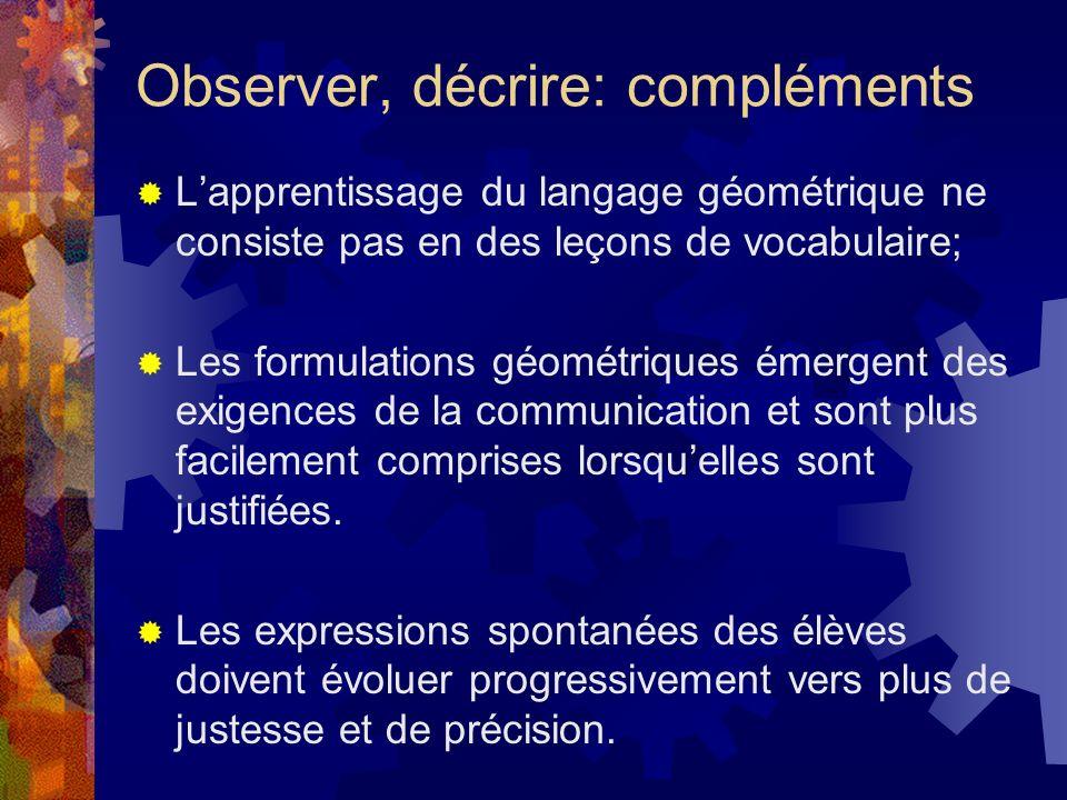 Observer, décrire: compléments Lapprentissage du langage géométrique ne consiste pas en des leçons de vocabulaire; Les formulations géométriques émerg