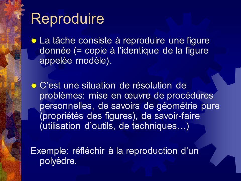 Reproduire La tâche consiste à reproduire une figure donnée (= copie à lidentique de la figure appelée modèle). Cest une situation de résolution de pr