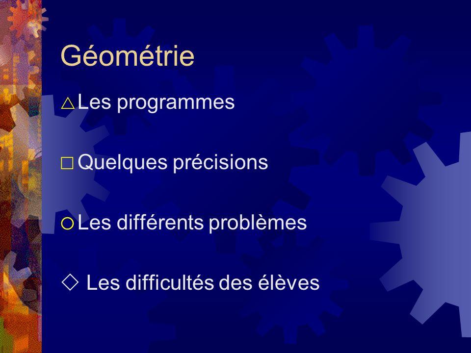 Géométrie Les programmes Quelques précisions Les différents problèmes Les difficultés des élèves