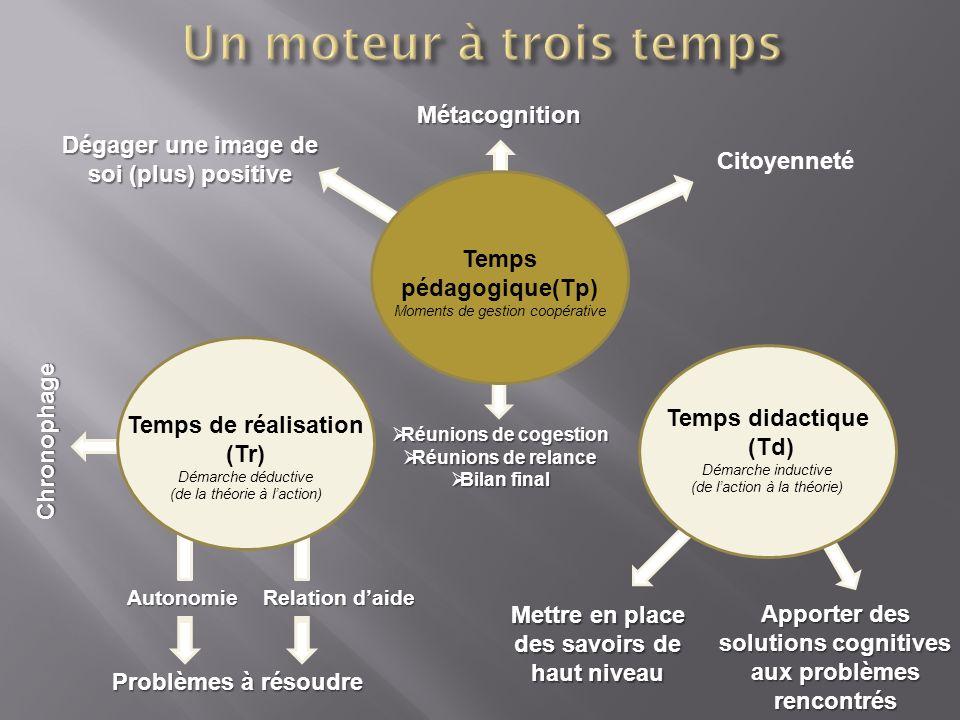 Réunions de cogestion Réunions de cogestion Réunions de relance Réunions de relance Bilan final Bilan finalMétacognition Temps pédagogique(Tp) Moments