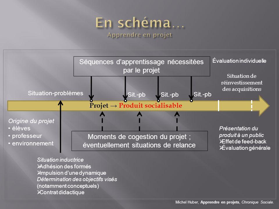Projet Produit socialisable Origine du projet élèves professeur environnement Situation-problèmes Séquences dapprentissage nécessitées par le projet S