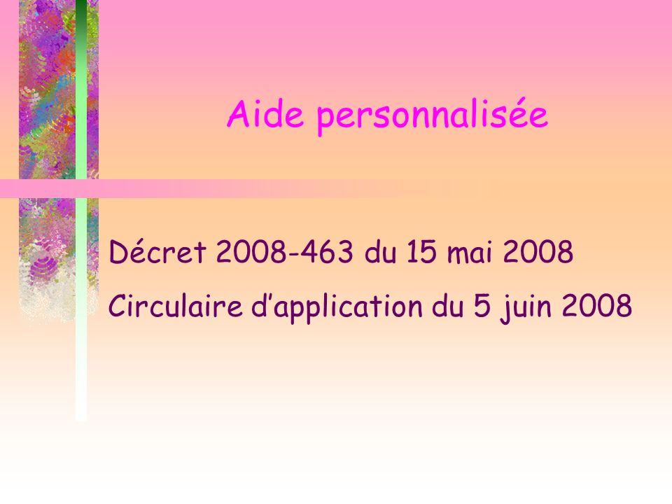 Aide personnalisée Décret 2008-463 du 15 mai 2008 Circulaire dapplication du 5 juin 2008