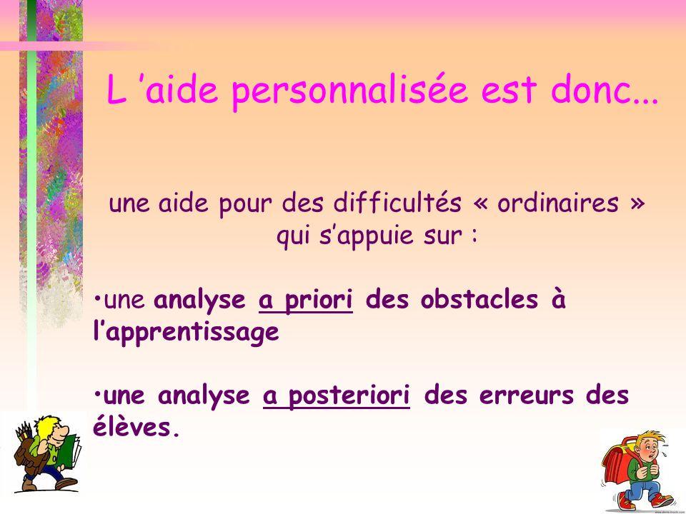 une aide pour des difficultés « ordinaires » qui sappuie sur : une analyse a priori des obstacles à lapprentissage une analyse a posteriori des erreur