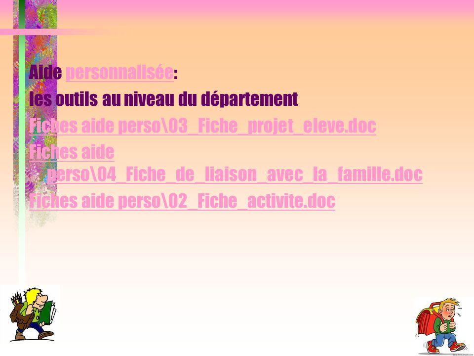 Aide personnalisée:personnalisée les outils au niveau du département Fiches aide perso\03_Fiche_projet_eleve.doc Fiches aide perso\04_Fiche_de_liaison_avec_la_famille.doc Fiches aide perso\02_Fiche_activite.doc
