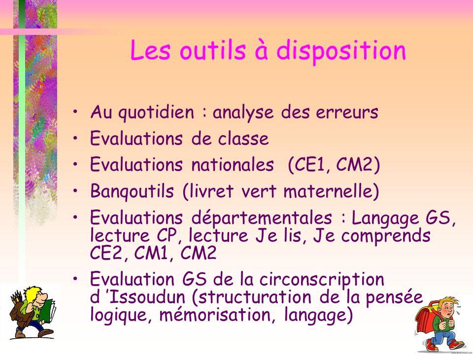Les outils à disposition Au quotidien : analyse des erreurs Evaluations de classe Evaluations nationales (CE1, CM2) Banqoutils (livret vert maternelle