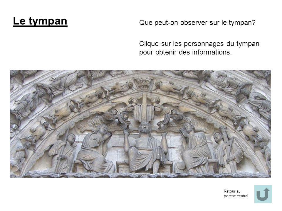 Le tympan Que peut-on observer sur le tympan? Clique sur les personnages du tympan pour obtenir des informations. Retour au porche central