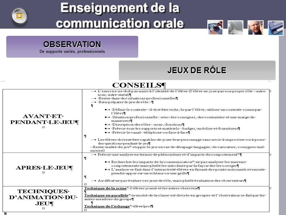 LOGO www.themegallery.com Enseignement de la communication orale OBSERVATION De supports variés, professionnels JEUX DE RÔLE