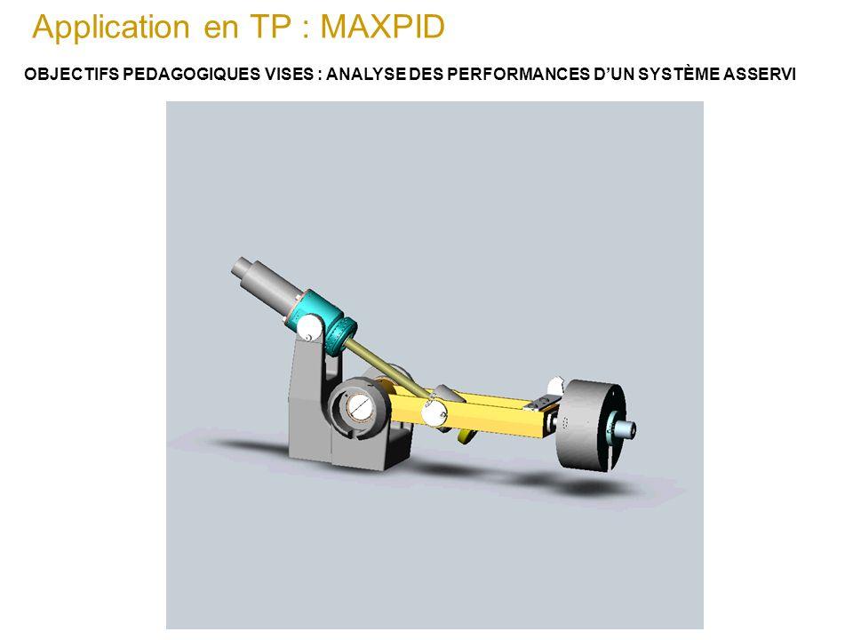 Application en TP : MAXPID OBJECTIFS PEDAGOGIQUES VISES : ANALYSE DES PERFORMANCES DUN SYSTÈME ASSERVI L'utilisation de l'outil informatique, en parti