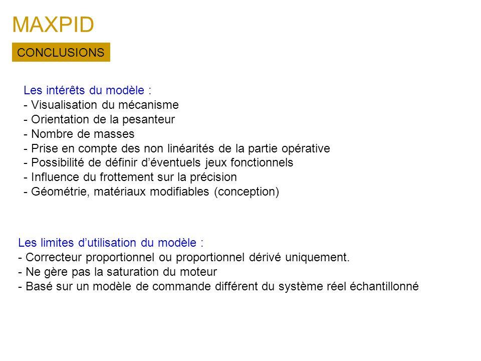 MAXPID Les limites dutilisation du modèle : - Correcteur proportionnel ou proportionnel dérivé uniquement. - Ne gère pas la saturation du moteur - Bas
