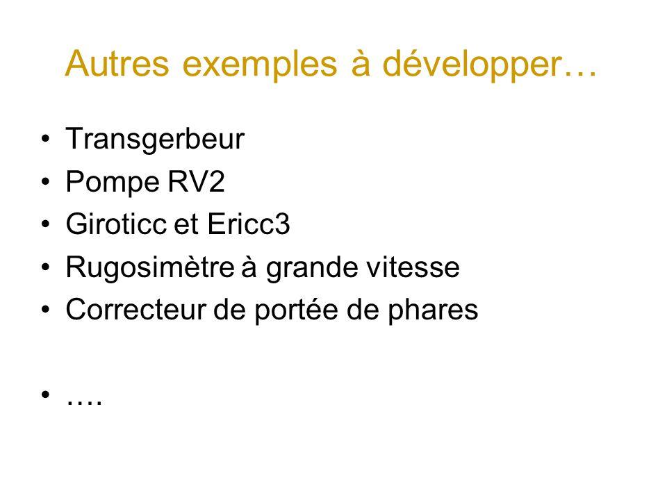 Autres exemples à développer… Transgerbeur Pompe RV2 Giroticc et Ericc3 Rugosimètre à grande vitesse Correcteur de portée de phares ….