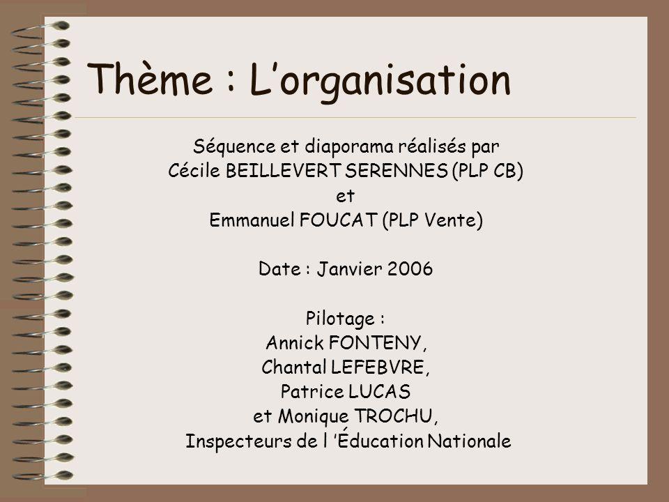 Thème : Lorganisation Séquence et diaporama réalisés par Cécile BEILLEVERT SERENNES (PLP CB) et Emmanuel FOUCAT (PLP Vente) Date : Janvier 2006 Pilota