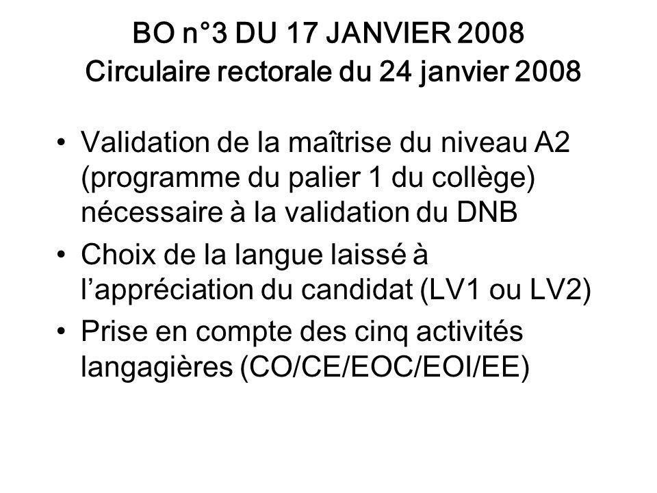 BO n°3 DU 17 JANVIER 2008 Circulaire rectorale du 24 janvier 2008 Validation de la maîtrise du niveau A2 (programme du palier 1 du collège) nécessaire à la validation du DNB Choix de la langue laissé à lappréciation du candidat (LV1 ou LV2) Prise en compte des cinq activités langagières (CO/CE/EOC/EOI/EE)