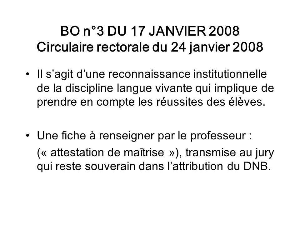 BO n°3 DU 17 JANVIER 2008 Circulaire rectorale du 24 janvier 2008 Il sagit dune reconnaissance institutionnelle de la discipline langue vivante qui implique de prendre en compte les réussites des élèves.
