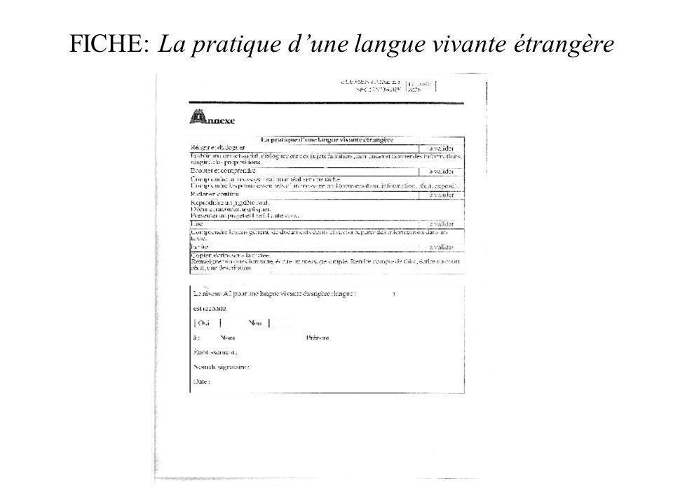 FICHE: La pratique dune langue vivante étrangère