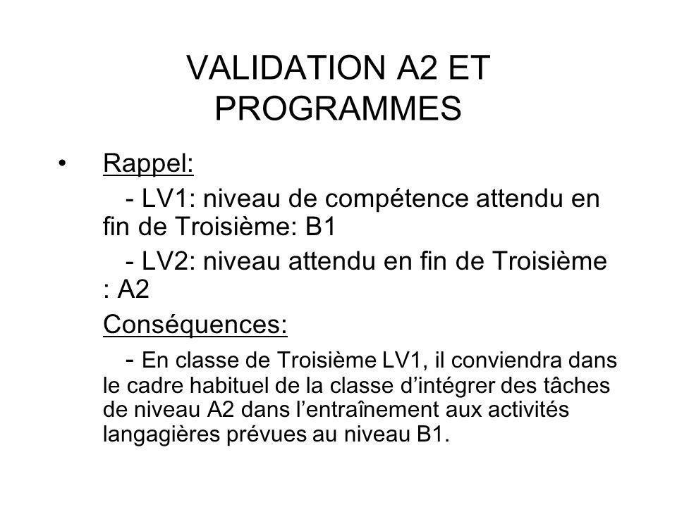 VALIDATION A2 ET PROGRAMMES Rappel: - LV1: niveau de compétence attendu en fin de Troisième: B1 - LV2: niveau attendu en fin de Troisième : A2 Conséquences: - En classe de Troisième LV1, il conviendra dans le cadre habituel de la classe dintégrer des tâches de niveau A2 dans lentraînement aux activités langagières prévues au niveau B1.