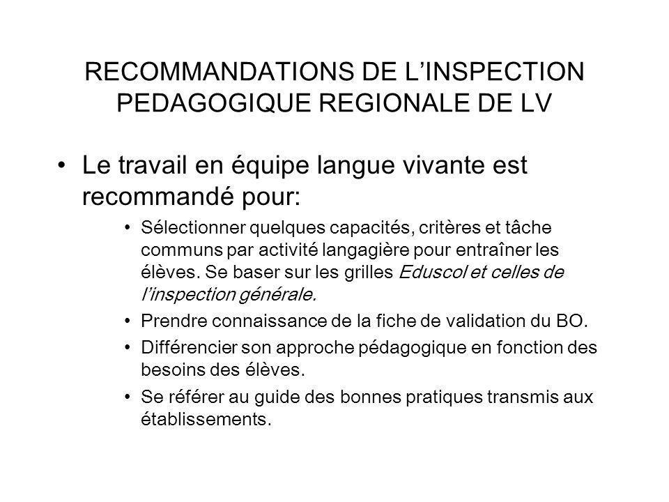 RECOMMANDATIONS DE LINSPECTION PEDAGOGIQUE REGIONALE DE LV Le travail en équipe langue vivante est recommandé pour: Sélectionner quelques capacités, critères et tâche communs par activité langagière pour entraîner les élèves.