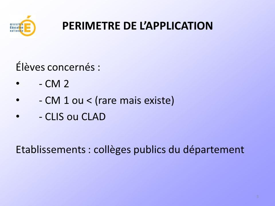3 PERIMETRE DE LAPPLICATION Élèves concernés : - CM 2 - CM 1 ou < (rare mais existe) - CLIS ou CLAD Etablissements : collèges publics du département
