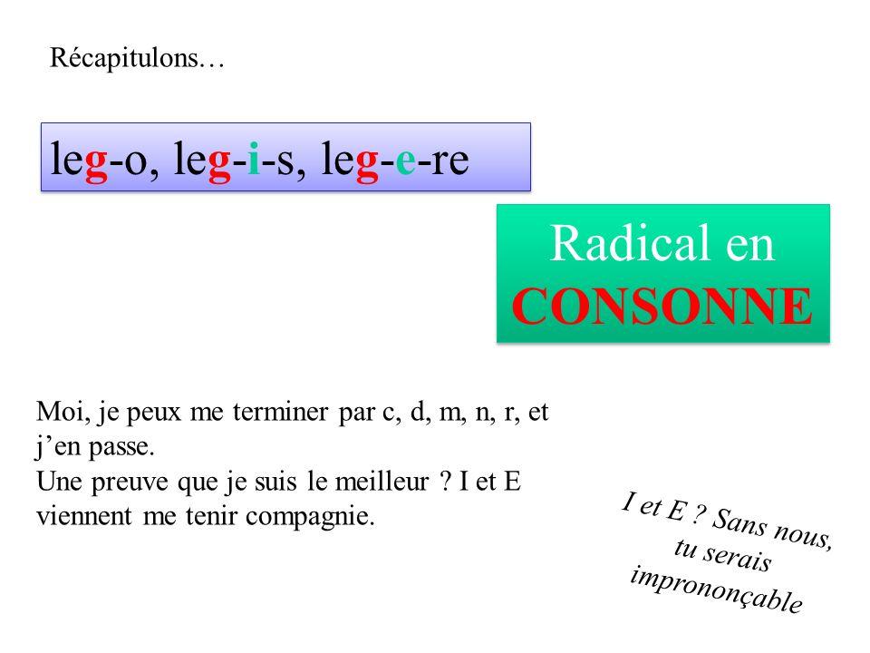 Récapitulons… leg-o, leg-i-s, leg-e-re Radical en CONSONNE Moi, je peux me terminer par c, d, m, n, r, et jen passe.