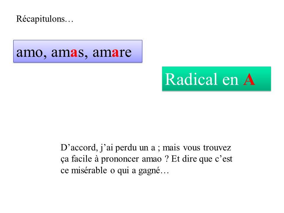Récapitulons… amo, amas, amare Radical en A Daccord, jai perdu un a ; mais vous trouvez ça facile à prononcer amao .