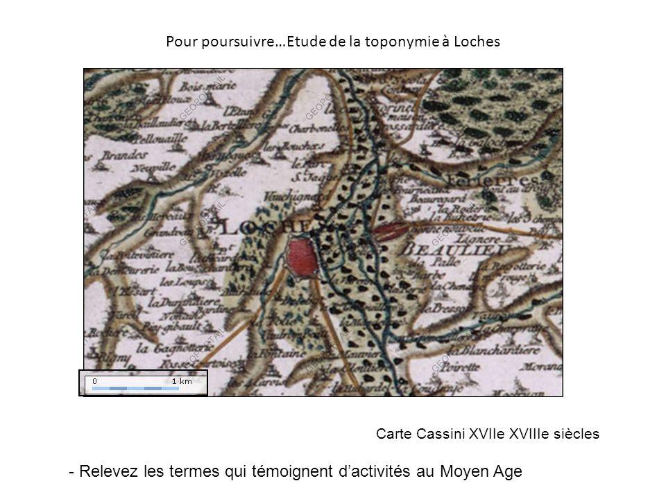 Pour poursuivre…Etude de la toponymie à Loches Carte Cassini XVIIe XVIIIe siècles - Relevez les termes qui témoignent dactivités au Moyen Age