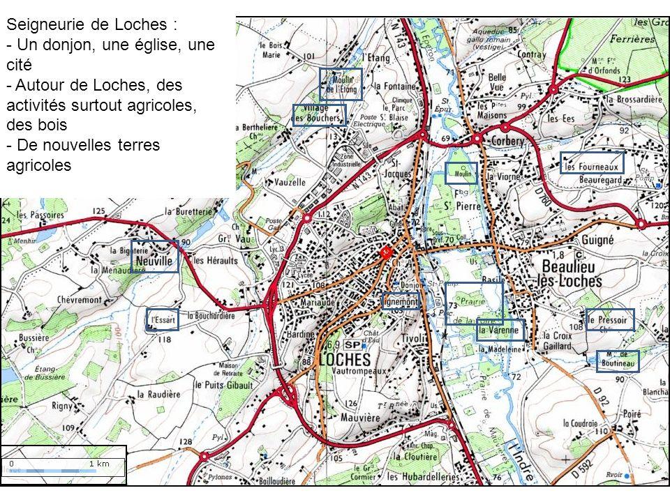 Seigneurie de Loches : - Un donjon, une église, une cité - Autour de Loches, des activités surtout agricoles, des bois - De nouvelles terres agricoles