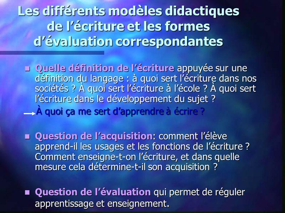 Les différents modèles didactiques de lécriture et les formes dévaluation correspondantes Quelle définition de lécriture appuyée sur une définition du