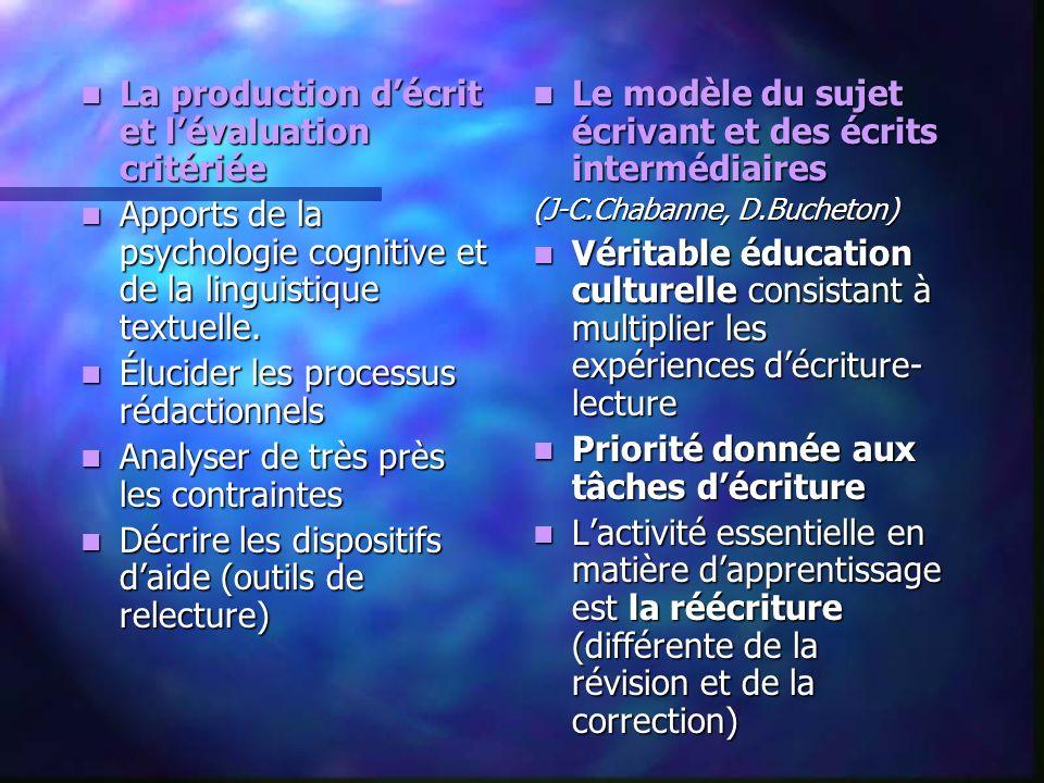 La production décrit et lévaluation critériée La production décrit et lévaluation critériée Apports de la psychologie cognitive et de la linguistique