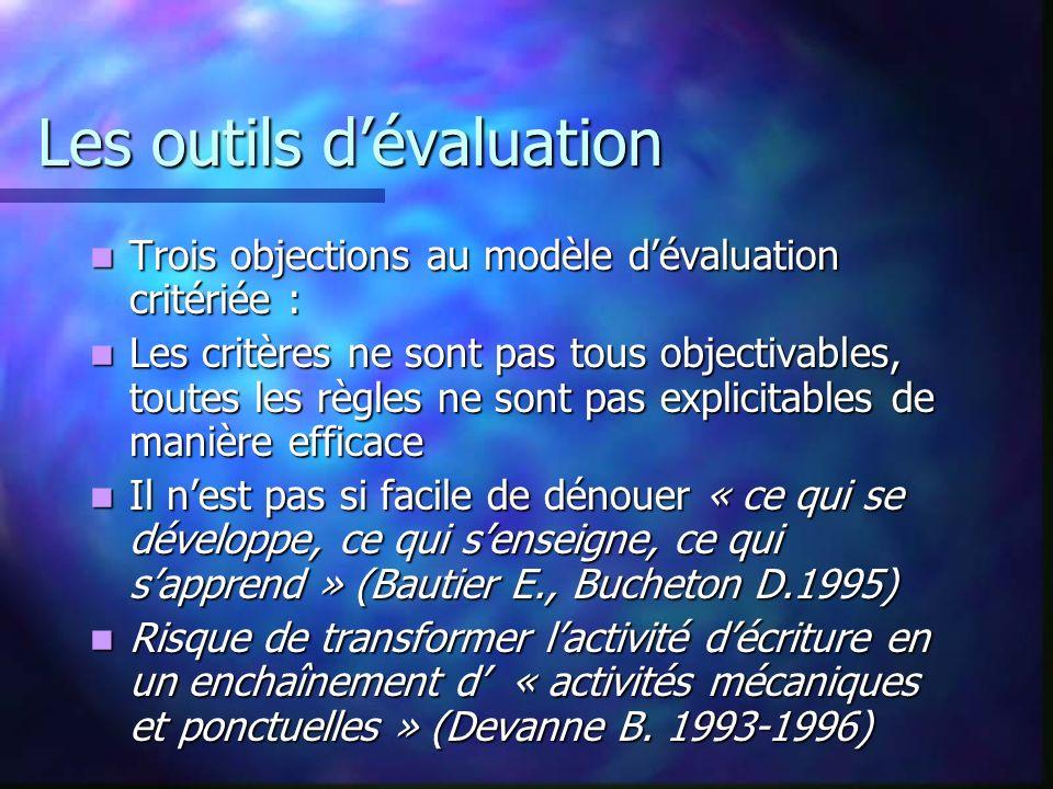 Les outils dévaluation Trois objections au modèle dévaluation critériée : Trois objections au modèle dévaluation critériée : Les critères ne sont pas
