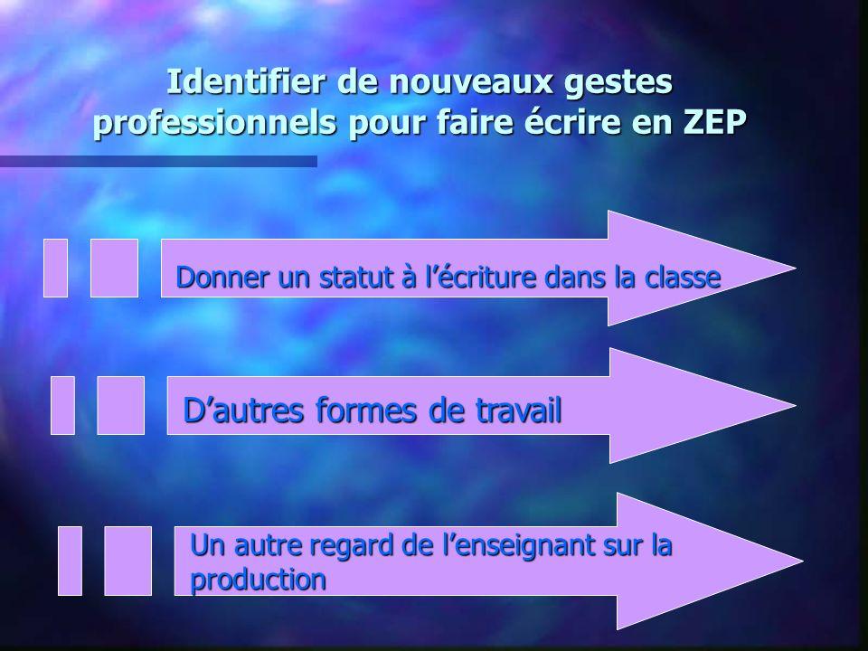 Identifier de nouveaux gestes professionnels pour faire écrire en ZEP Donner un statut à lécriture dans la classe Dautres formes de travail Un autre r