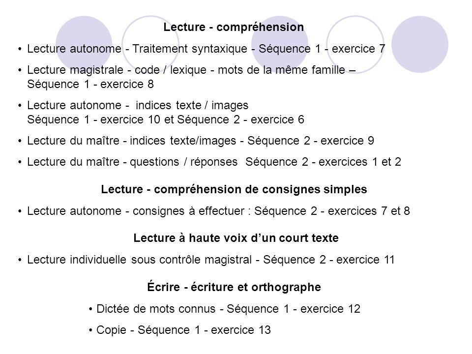 Lecture - compréhension Lecture autonome - Traitement syntaxique - Séquence 1 - exercice 7 Lecture magistrale - code / lexique - mots de la même famille – Séquence 1 - exercice 8 Lecture autonome - indices texte / images Séquence 1 - exercice 10 et Séquence 2 - exercice 6 Lecture du maître - indices texte/images - Séquence 2 - exercice 9 Lecture du maître - questions / réponses Séquence 2 - exercices 1 et 2 Lecture - compréhension de consignes simples Lecture autonome - consignes à effectuer : Séquence 2 - exercices 7 et 8 Lecture à haute voix dun court texte Lecture individuelle sous contrôle magistral - Séquence 2 - exercice 11 Écrire - écriture et orthographe Dictée de mots connus - Séquence 1 - exercice 12 Copie - Séquence 1 - exercice 13