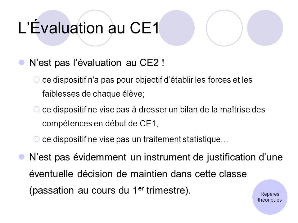 LÉvaluation au CE1 Nest pas lévaluation au CE2 .