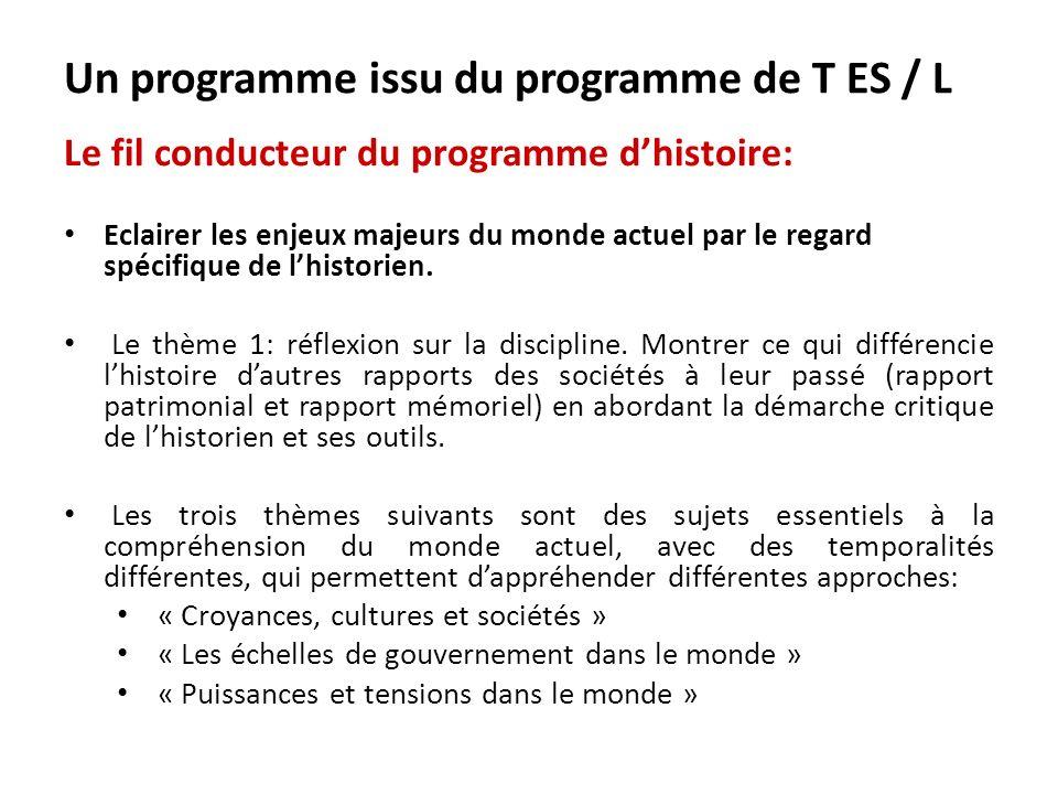 Continuité: lien avec le thème 3 du programme de géographie de 1 ère (LUnion européenne); liens surtout avec lancien programme de terminale L/ES sur lEurope de 1945 à nos jours.