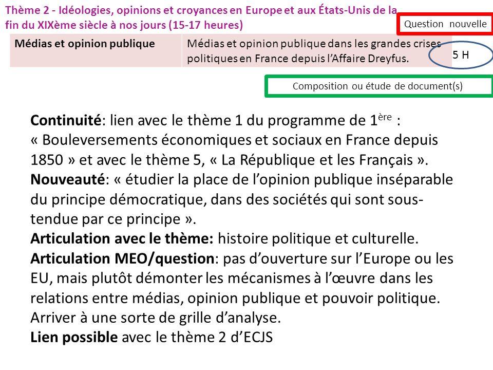 Médias et opinion publiqueMédias et opinion publique dans les grandes crises politiques en France depuis lAffaire Dreyfus. Question nouvelle 5 H Compo