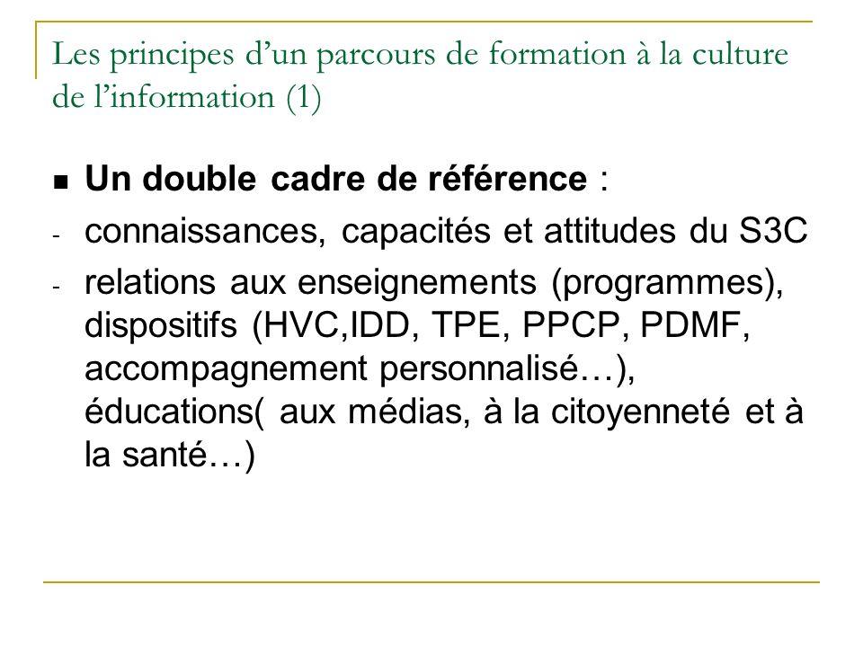 Les principes dun parcours de formation à la culture de linformation (1) Un double cadre de référence : - connaissances, capacités et attitudes du S3C - relations aux enseignements (programmes), dispositifs (HVC,IDD, TPE, PPCP, PDMF, accompagnement personnalisé…), éducations( aux médias, à la citoyenneté et à la santé…)