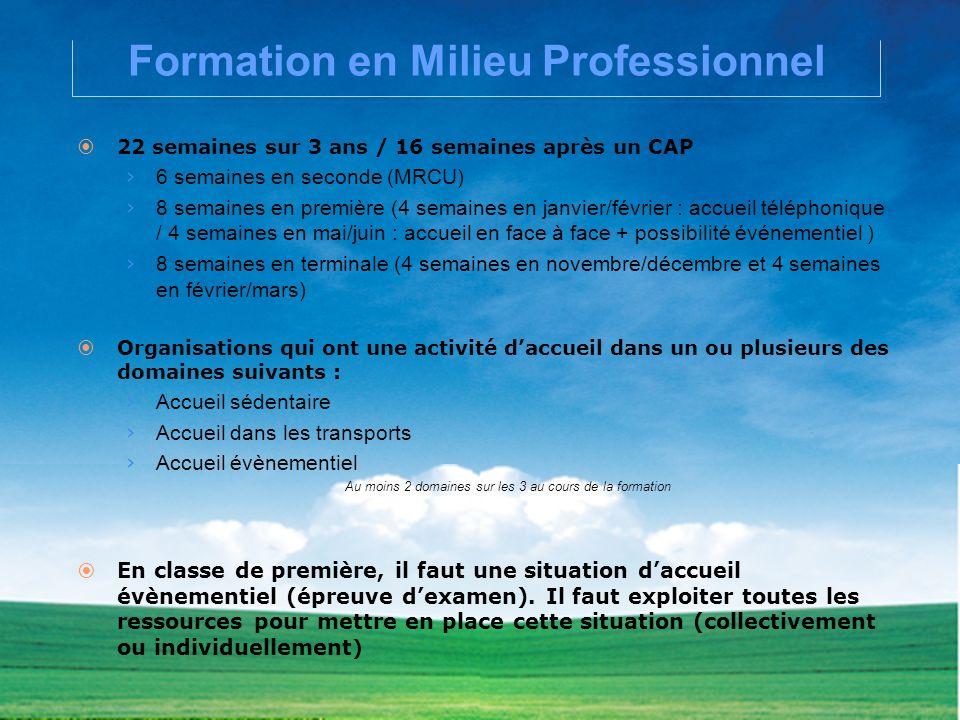 Formation en Milieu Professionnel 22 semaines sur 3 ans / 16 semaines après un CAP 6 semaines en seconde (MRCU) 8 semaines en première (4 semaines en