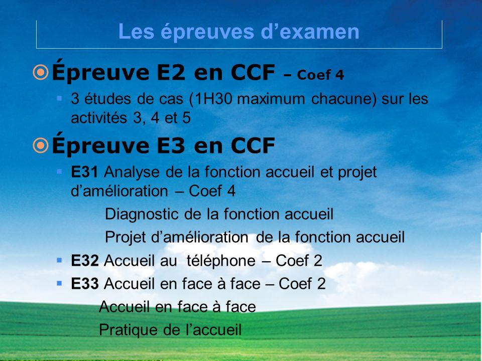 Les épreuves dexamen Épreuve E2 en CCF – Coef 4 3 études de cas (1H30 maximum chacune) sur les activités 3, 4 et 5 Épreuve E3 en CCF E31 Analyse de la